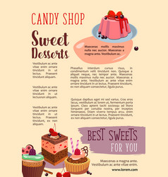 poster for candy shop pastry desserts vector image vector image