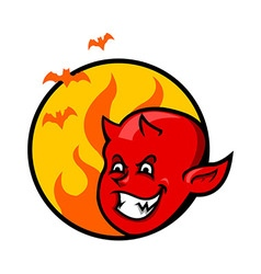 Red Devil Boy Badge vector image