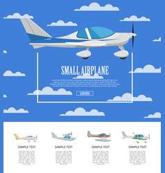 Small airplane poster with propeller aircrafts vector