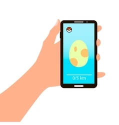 Smartphone in hand with the image of the egg for vector