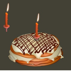 Sweet cake with butter cream and burning candle vector