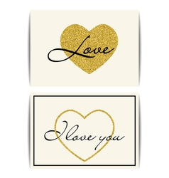 Valentine template with gold glitter heart i love vector