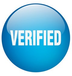 Verified blue round gel isolated push button vector