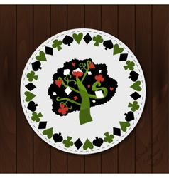A tree - drink coaster from wonderland forest vector