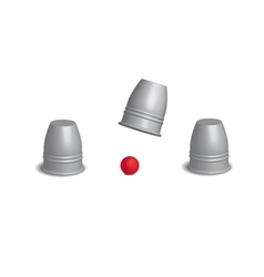 Magic cups game with red ball set in open action vector