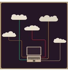 Retro style cloud computing concept vector