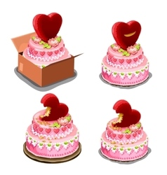 Pink cake with red biscuits in shape of heart vector