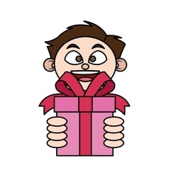 Isolated gift and boy design vector