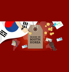Made in south korea stamp price tg flag world map vector