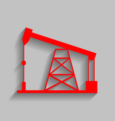 Oil drilling rig sign  red icon with soft vector