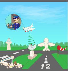 airport concept runway cartoon style vector image