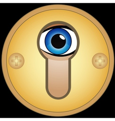 Eye in golden keyhole vector
