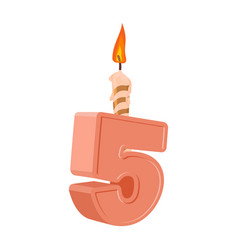 5 years birthday number with festive candle for vector