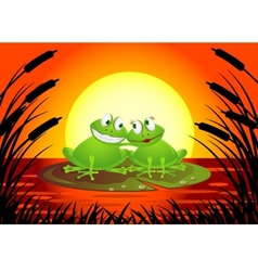 Frog couple with sunset vector