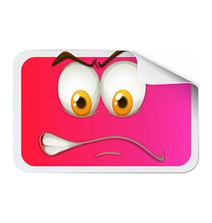 Pink sticker with face vector