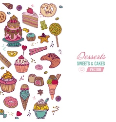 Colorful Background with Cakes Sweets and Desserts vector image