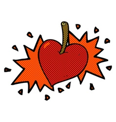 Comic cartoon love heart cherry vector