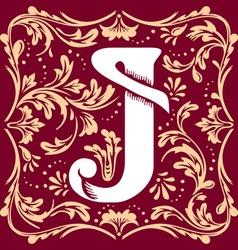 vintage letter J vector image