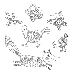 Set of outlined hand drawn animals vector