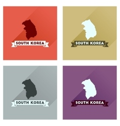 Concept flat icons with long shadow south korea vector