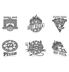 set of monochrome pizza logos vector image