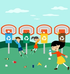 Children recycle playing at basket with recycling vector