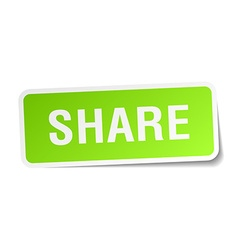 Share green square sticker on white background vector