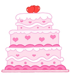 Cake with two red hearts vector