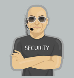 Security guard standing with crossed arms vector