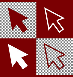 Arrow sign bordo and white vector