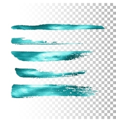 Azure metallic paint brush stroke set vector