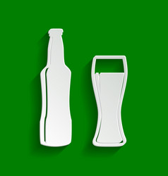 Beer bottle sign paper whitish icon with vector