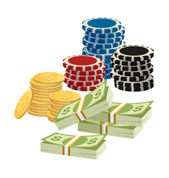 Betting gambling concept poker chips golden vector