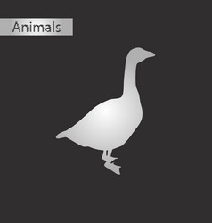 black and white style icon of goose vector image vector image