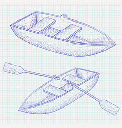 boat hand drawn sketch vector image vector image