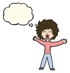 Cartoon woman shouting with thought bubble vector