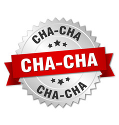 Cha-cha 3d silver badge with red ribbon vector