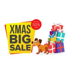 christmas dog cartoon characters bector happy dog vector image vector image