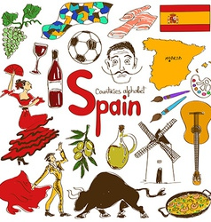Collection of spain icons vector