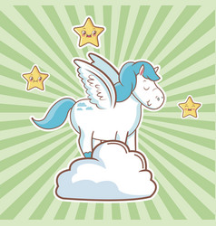 Cute unicorn over cloud fantasy stars striped vector