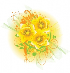 daffodil background vector image vector image