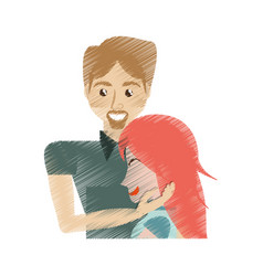 Drawing man caress girl lovely vector