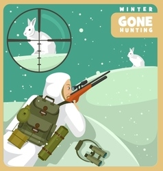 Gone hunting winter vector