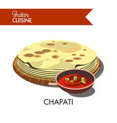 Indian chapati with hot sauce isolated cartoon vector