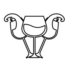 Line glass splashing wine icon vector