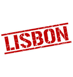 Lisbon red square stamp vector