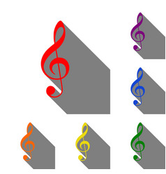 Music violin clef sign g-clef treble clef set vector