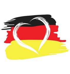 painted german flag with heart shape symbol vector image