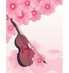 pink flowers violin vector vector image vector image
