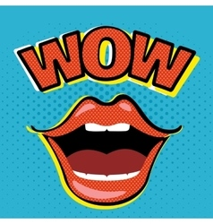 Pop art open mouth with wow speech bubble vector